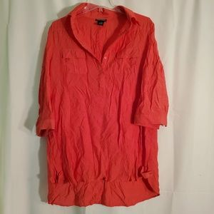 3for$25 Cotton Express button down bright orange